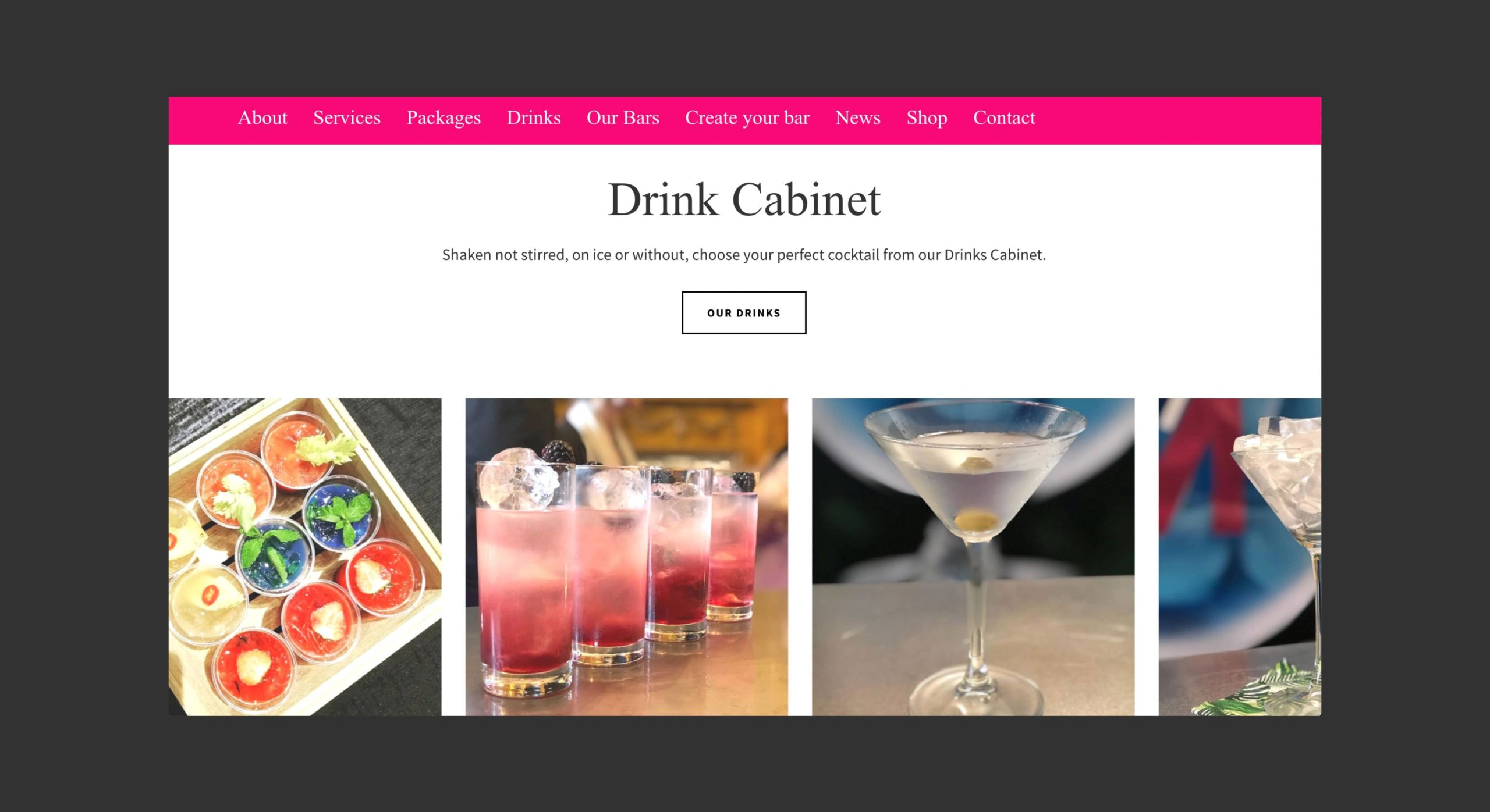 drink website design