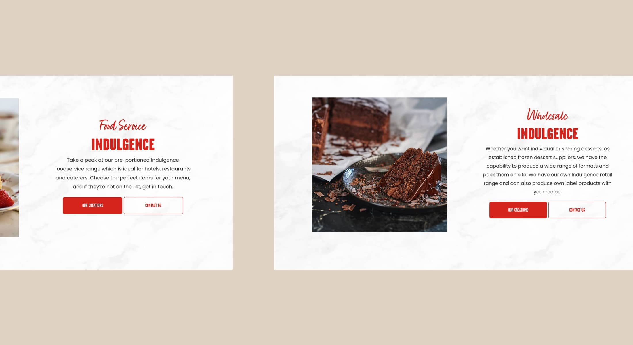 website design for delicious desserts
